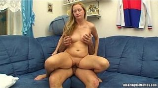 Horny Blonde Milf Getting Fingered and Riding Cock On The Couch