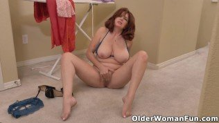 Redhead milf Andi James from Florida can't control the urge to masturbate